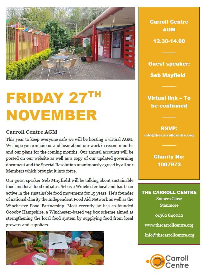 Carroll Centre 2020 AGM Invitation